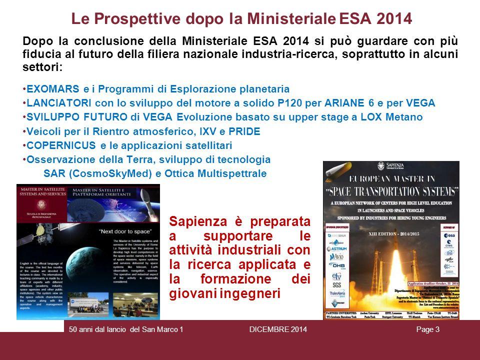Le Prospettive dopo la Ministeriale ESA 2014
