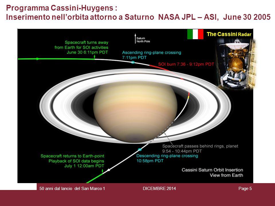 Programma Cassini-Huygens : Inserimento nell'orbita attorno a Saturno NASA JPL – ASI, June 30 2005