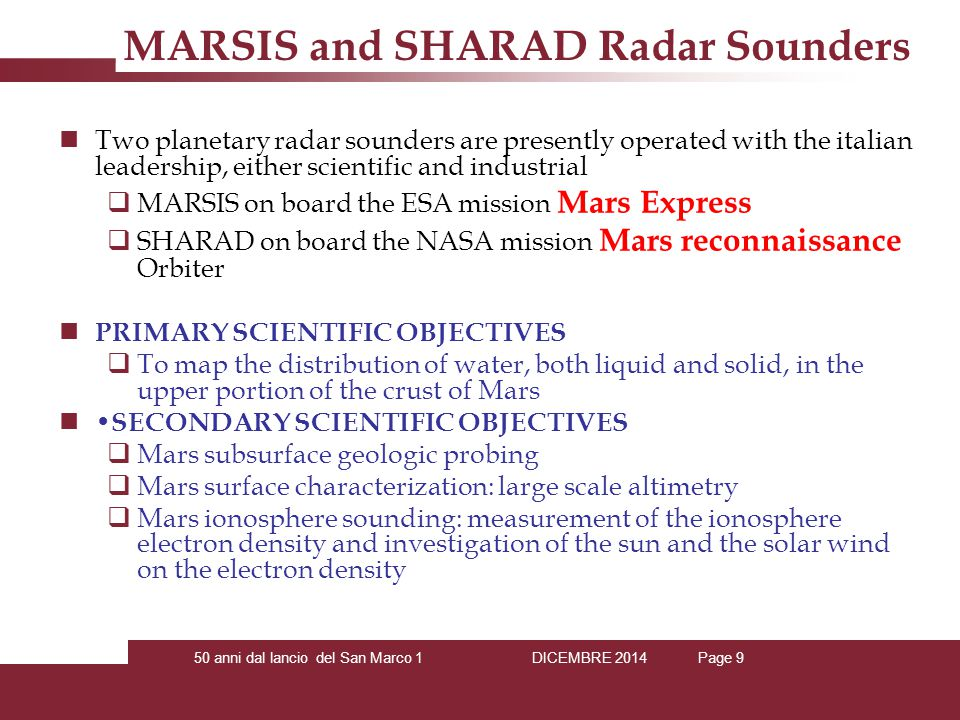 MARSIS and SHARAD Radar Sounders