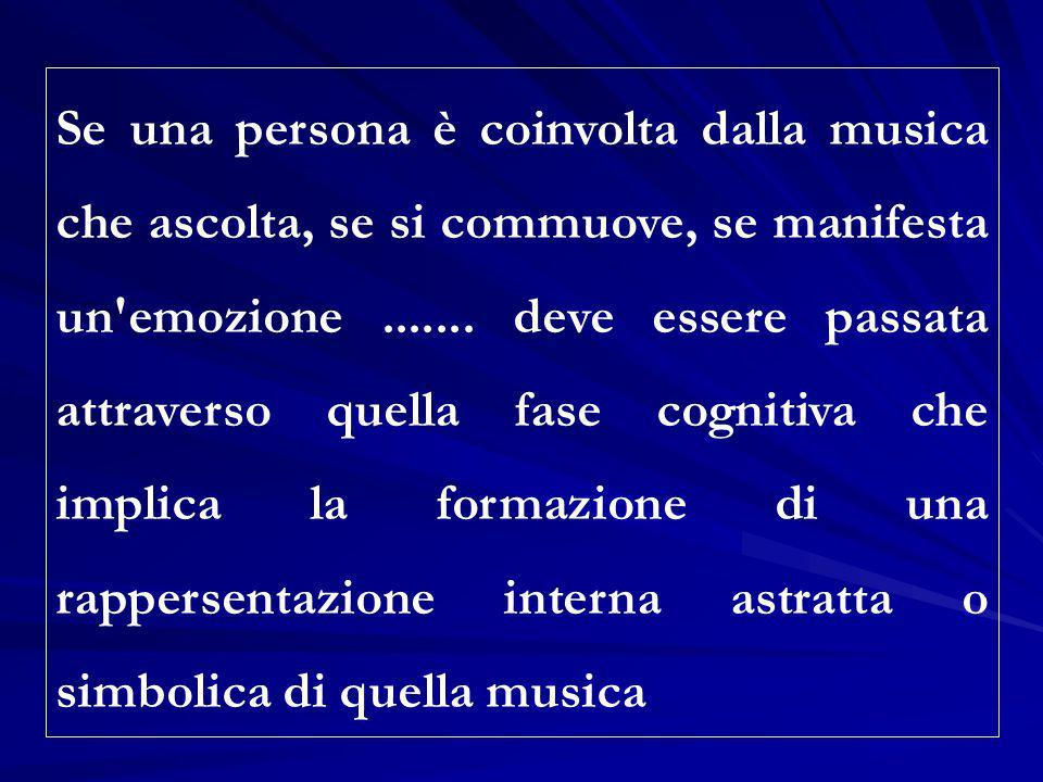 Se una persona è coinvolta dalla musica che ascolta, se si commuove, se manifesta un emozione .......