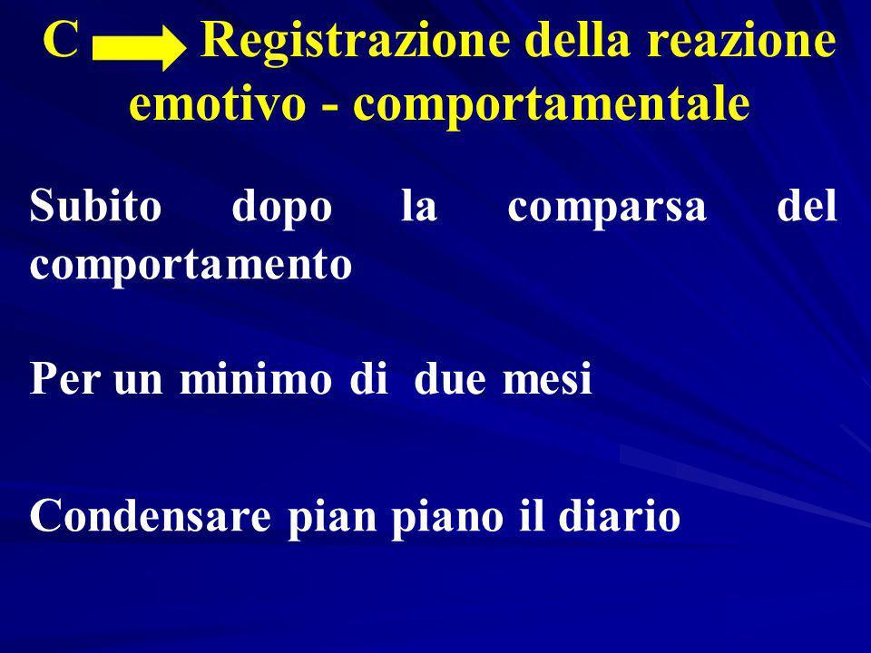 C Registrazione della reazione emotivo - comportamentale