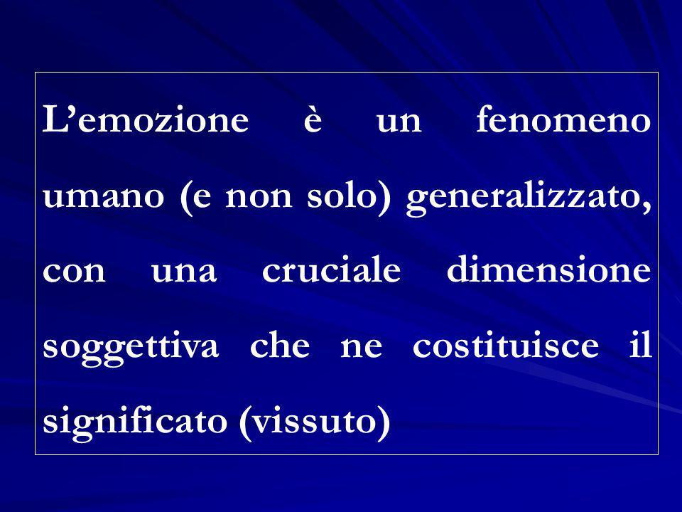 L'emozione è un fenomeno umano (e non solo) generalizzato, con una cruciale dimensione soggettiva che ne costituisce il significato (vissuto)