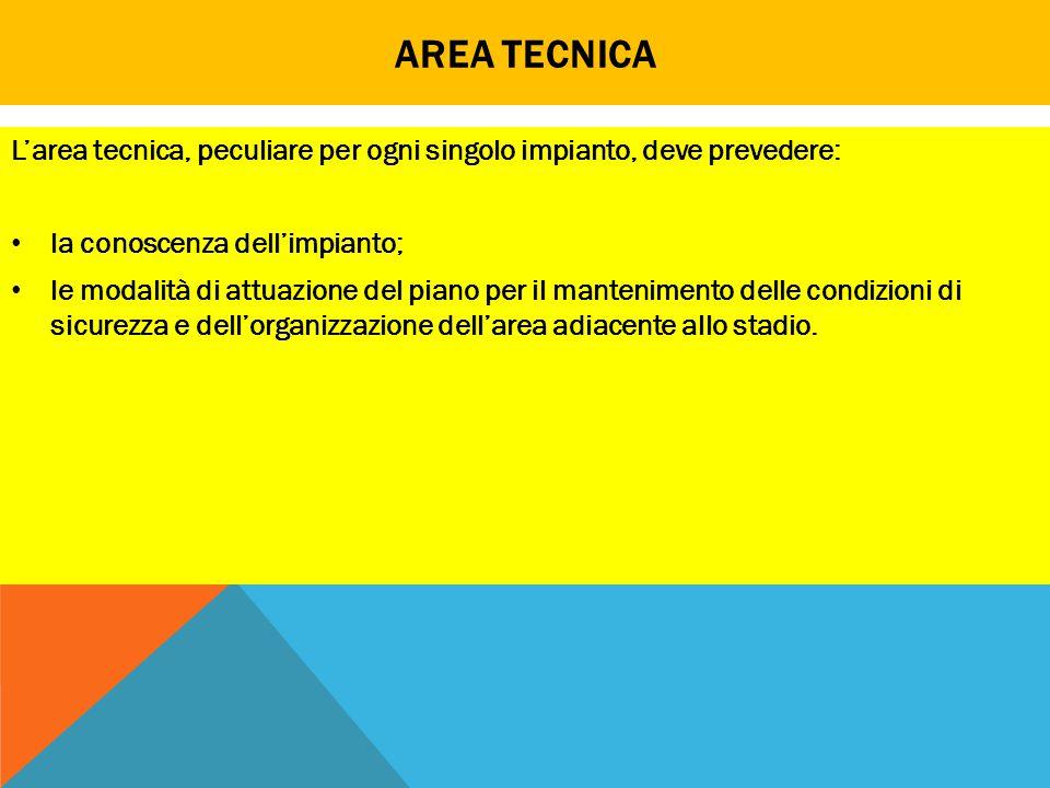 Area tecnica L'area tecnica, peculiare per ogni singolo impianto, deve prevedere: la conoscenza dell'impianto;