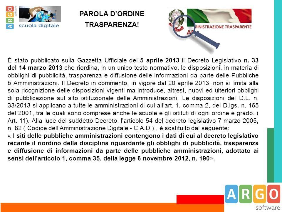 PAROLA D'ORDINE TRASPARENZA!