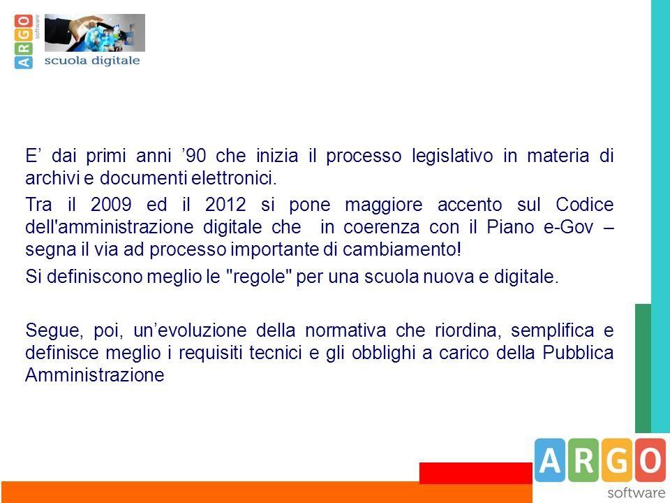 E' dai primi anni '90 che inizia il processo legislativo in materia di archivi e documenti elettronici.