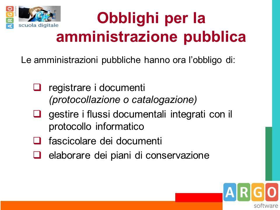 Obblighi per la amministrazione pubblica