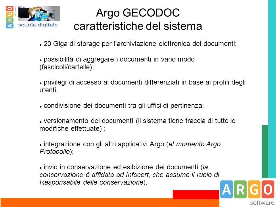 Argo GECODOC caratteristiche del sistema