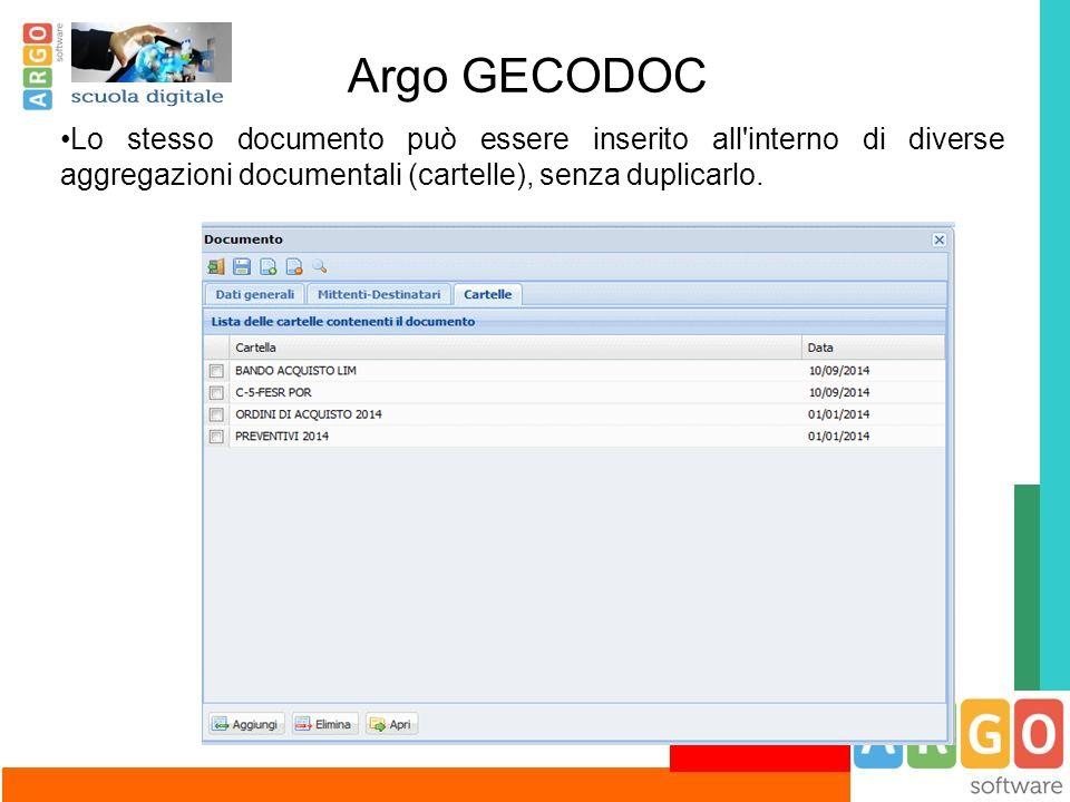 Argo GECODOC Lo stesso documento può essere inserito all interno di diverse aggregazioni documentali (cartelle), senza duplicarlo.