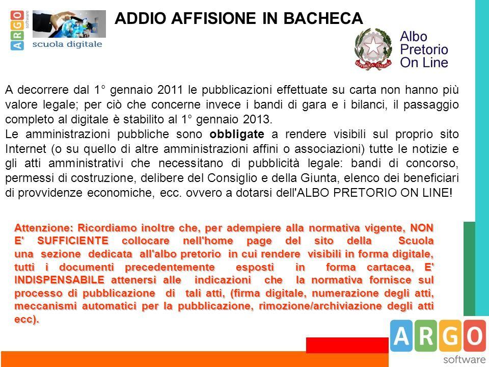 ADDIO AFFISIONE IN BACHECA