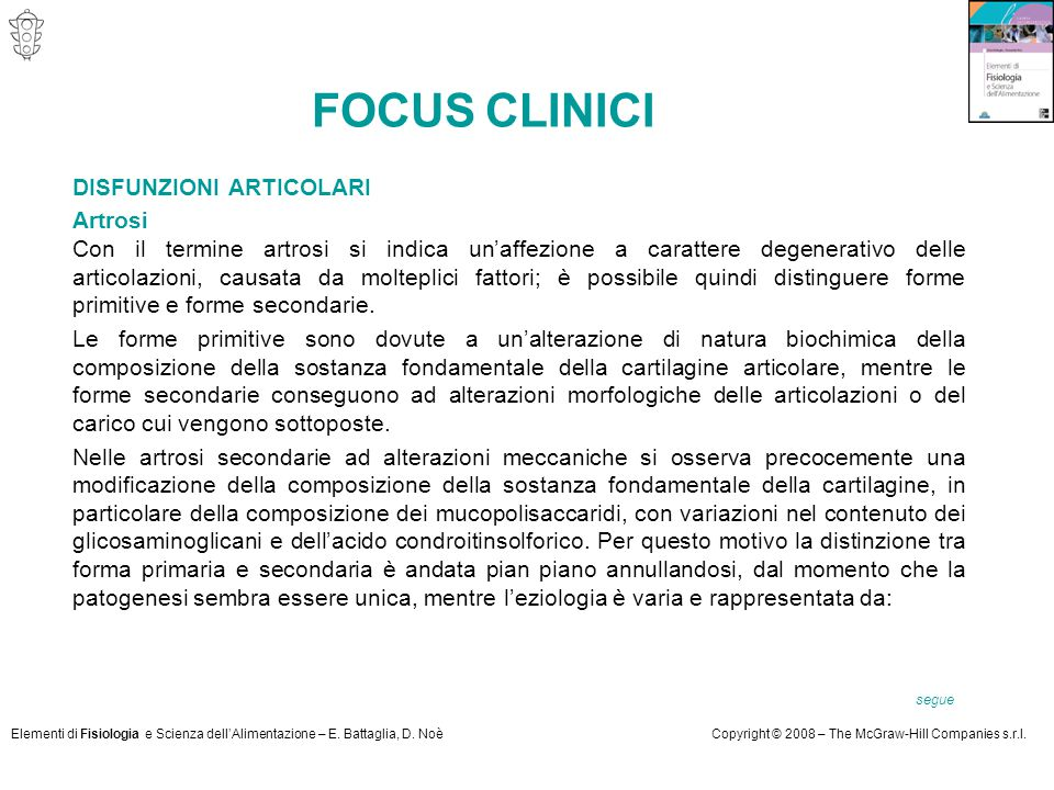 FOCUS CLINICI DISFUNZIONI ARTICOLARI Artrosi