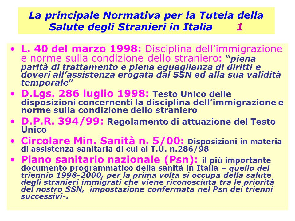 La principale Normativa per la Tutela della Salute degli Stranieri in Italia 1