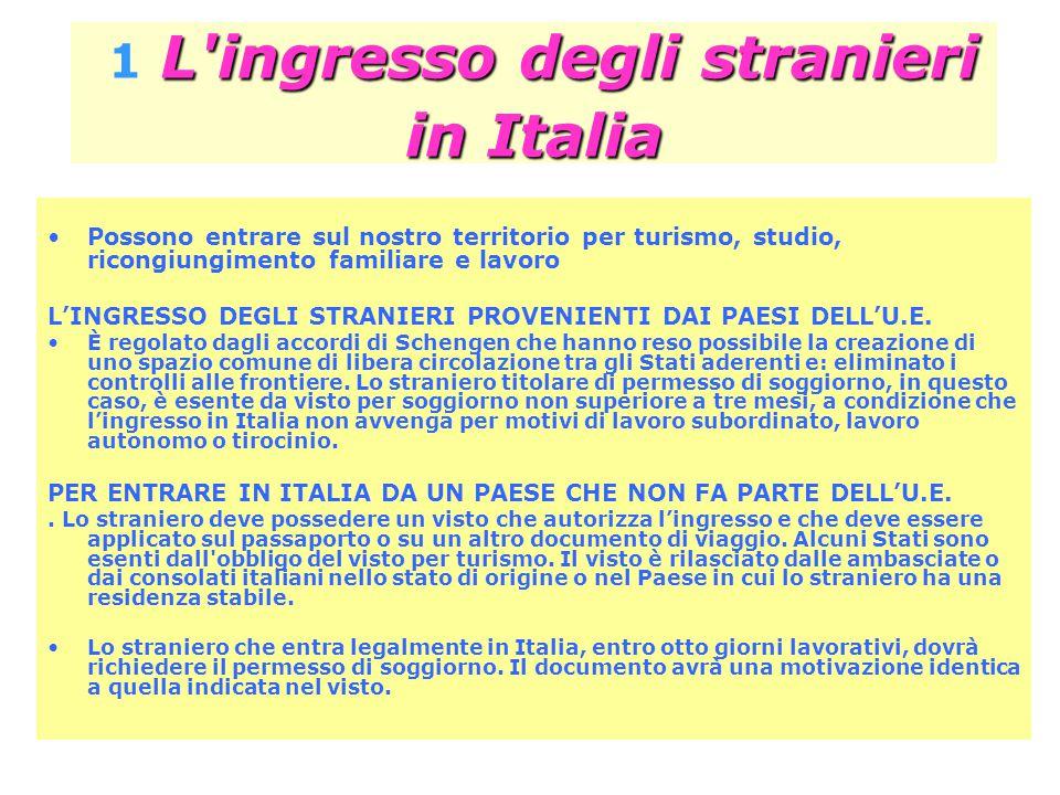 1 L ingresso degli stranieri in Italia