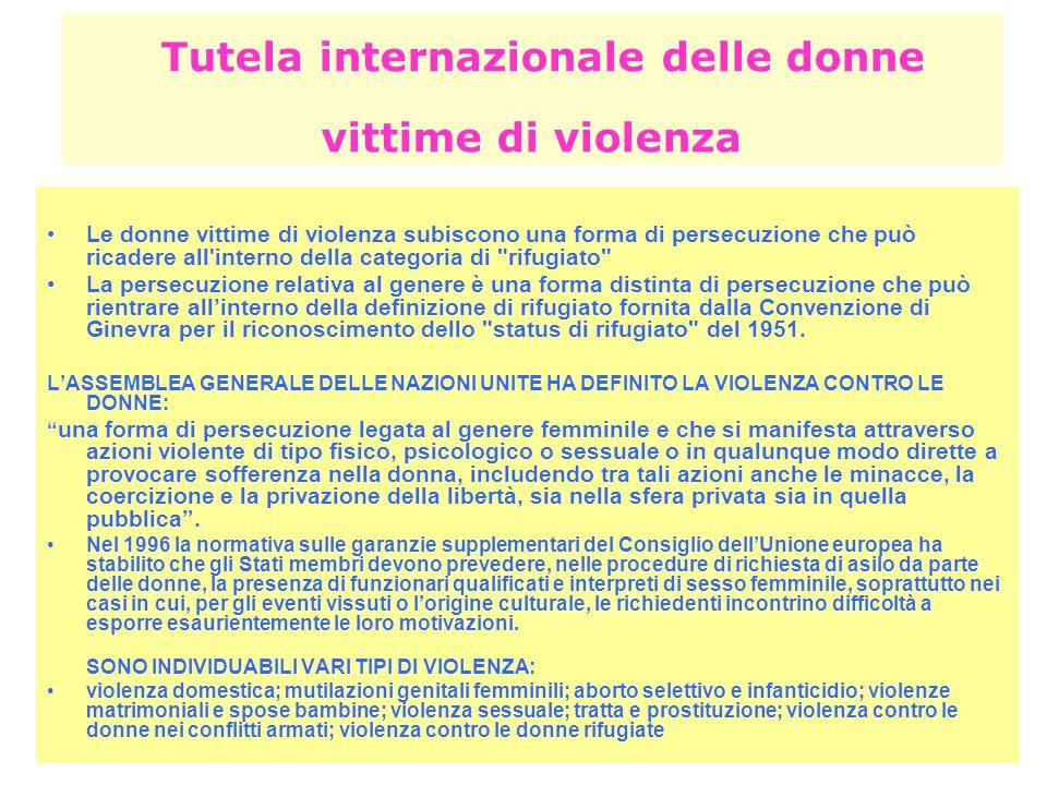 Tutela internazionale delle donne vittime di violenza
