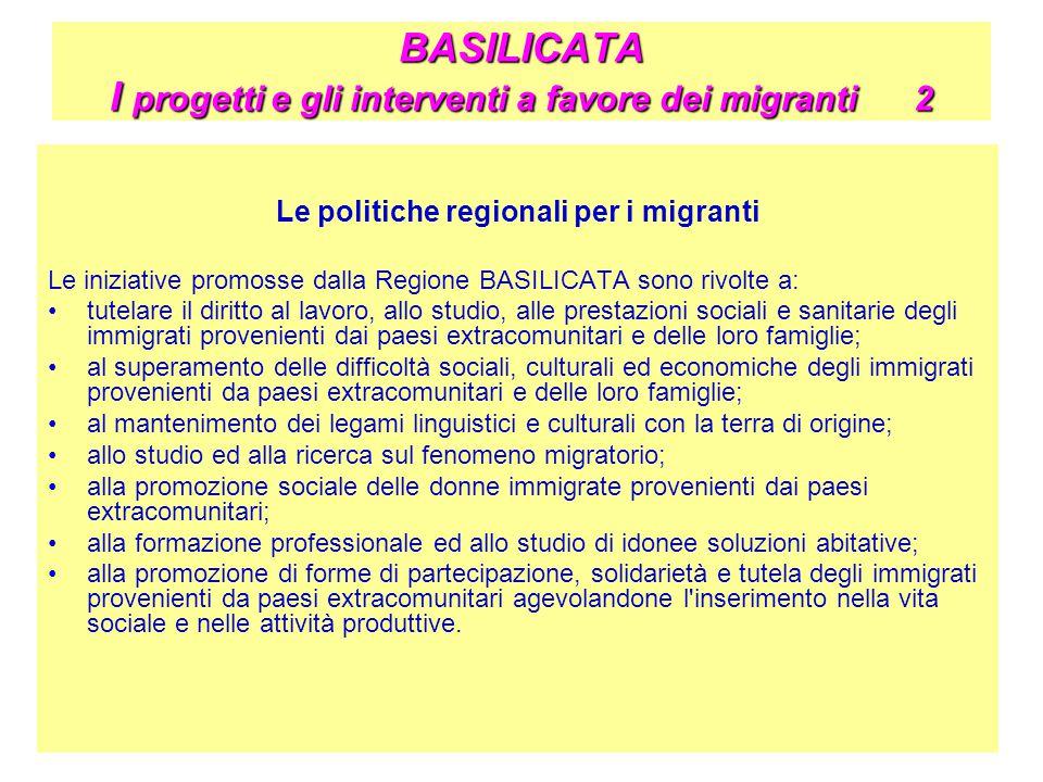 BASILICATA I progetti e gli interventi a favore dei migranti 2