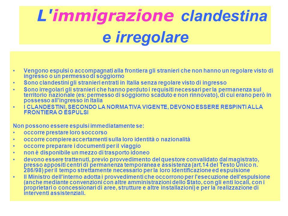 L immigrazione clandestina e irregolare