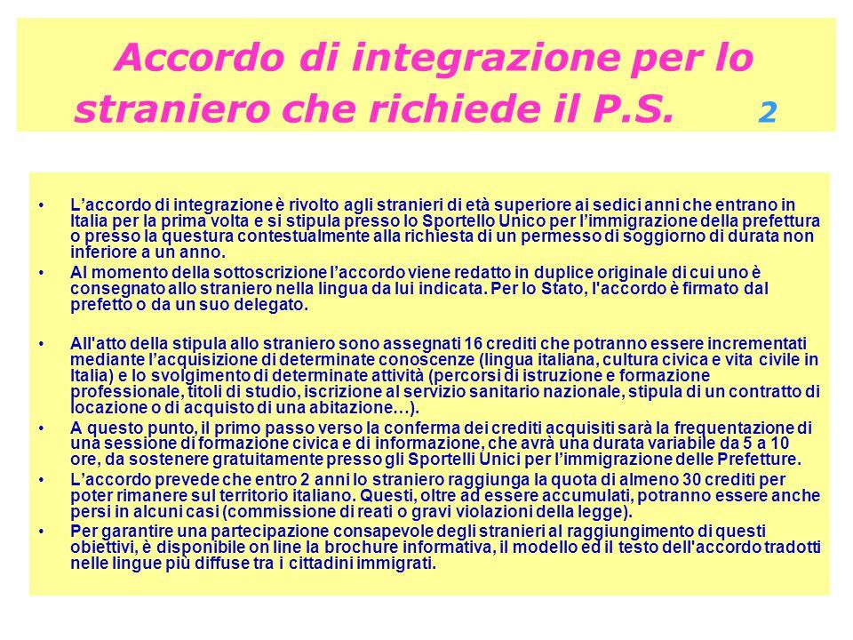 Accordo di integrazione per lo straniero che richiede il P.S. 2