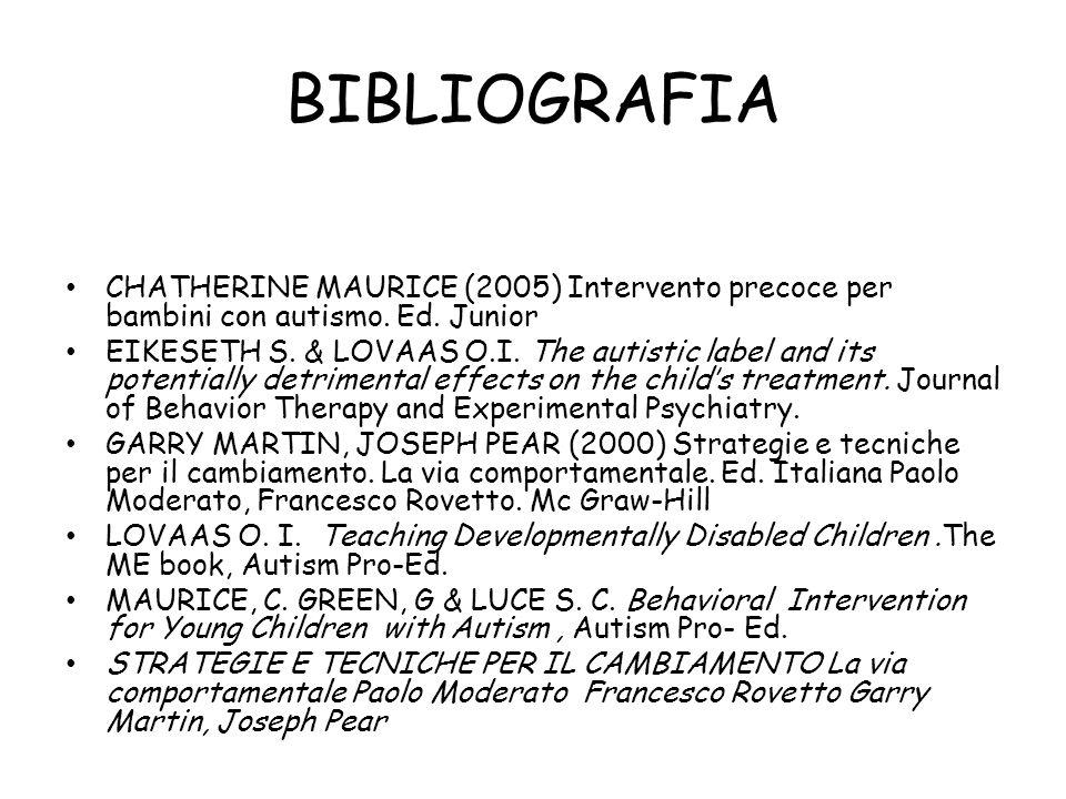 BIBLIOGRAFIA CHATHERINE MAURICE (2005) Intervento precoce per bambini con autismo. Ed. Junior.