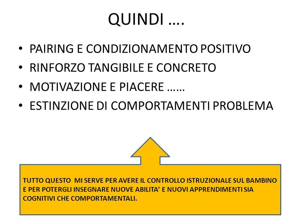 QUINDI …. PAIRING E CONDIZIONAMENTO POSITIVO