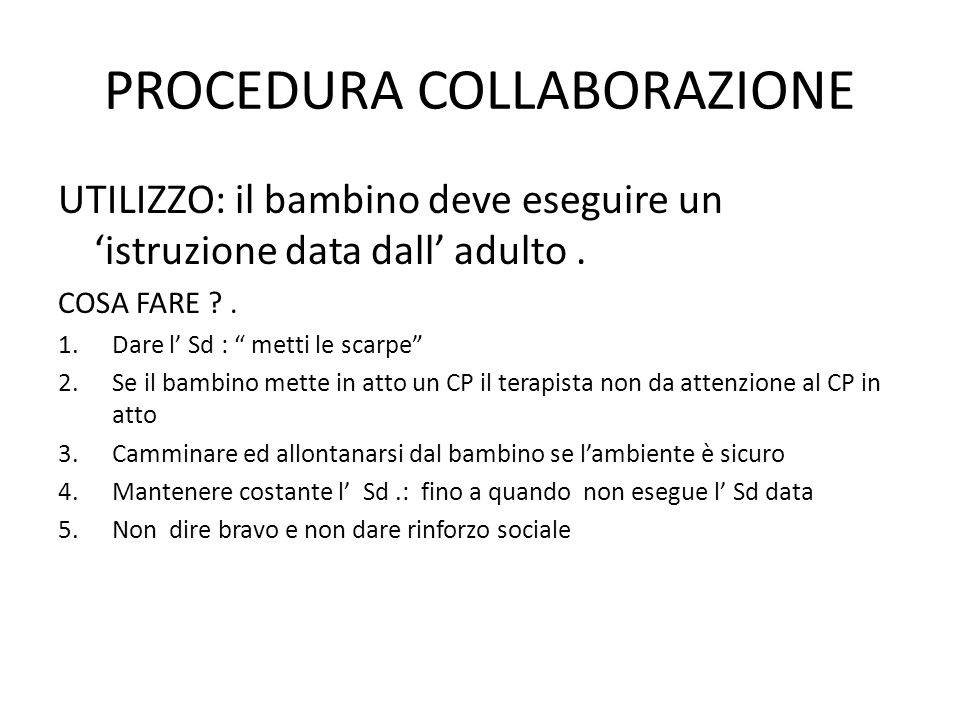 PROCEDURA COLLABORAZIONE
