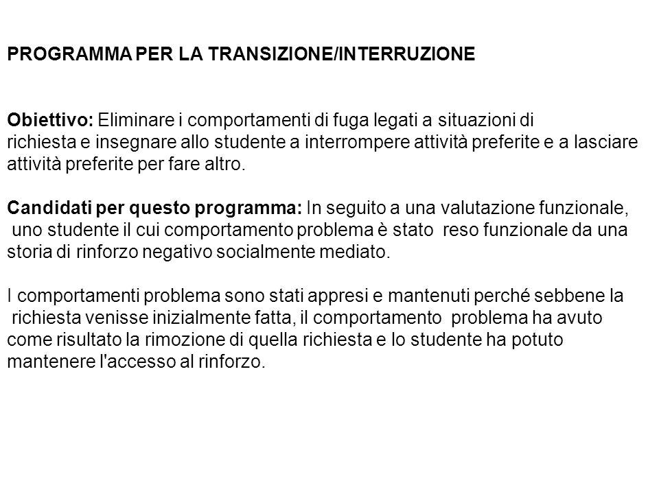 PROGRAMMA PER LA TRANSIZIONE/INTERRUZIONE