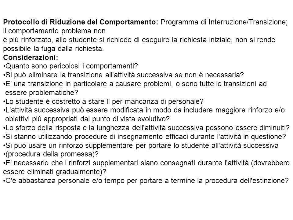 Protocollo di Riduzione del Comportamento: Programma di Interruzione/Transizione;
