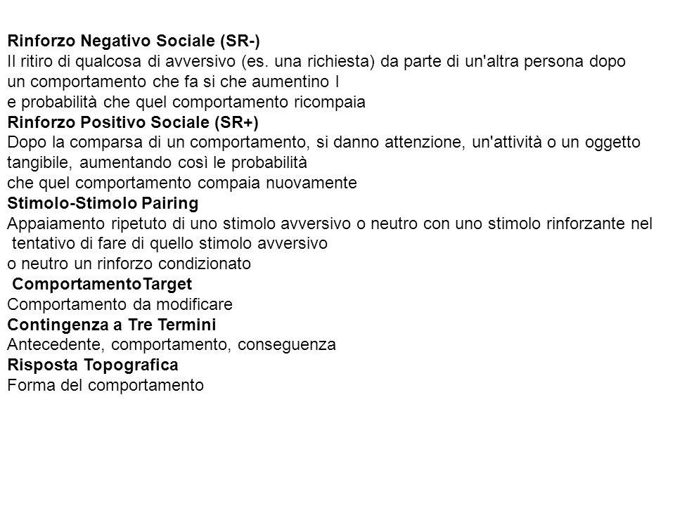 Rinforzo Negativo Sociale (SR-)