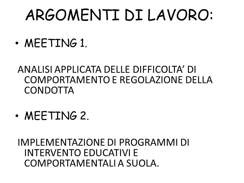 ARGOMENTI DI LAVORO: MEETING 1.