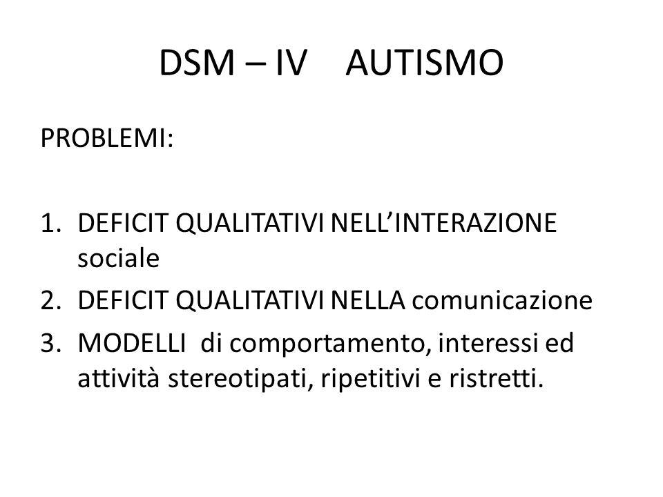 DSM – IV AUTISMO PROBLEMI:
