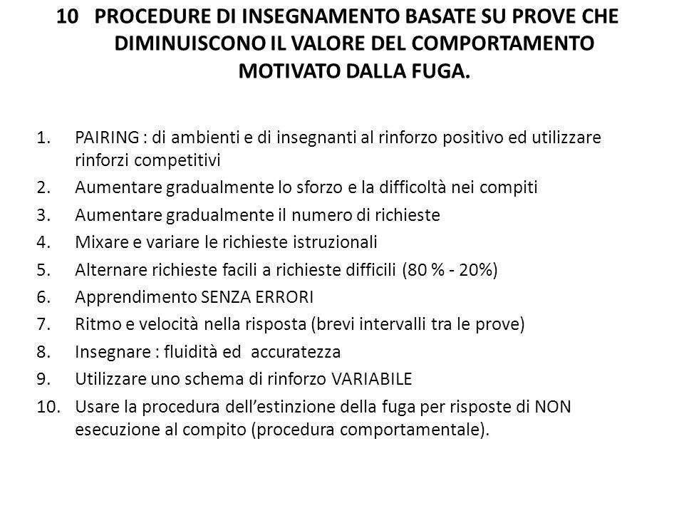 10 PROCEDURE DI INSEGNAMENTO BASATE SU PROVE CHE DIMINUISCONO IL VALORE DEL COMPORTAMENTO MOTIVATO DALLA FUGA.
