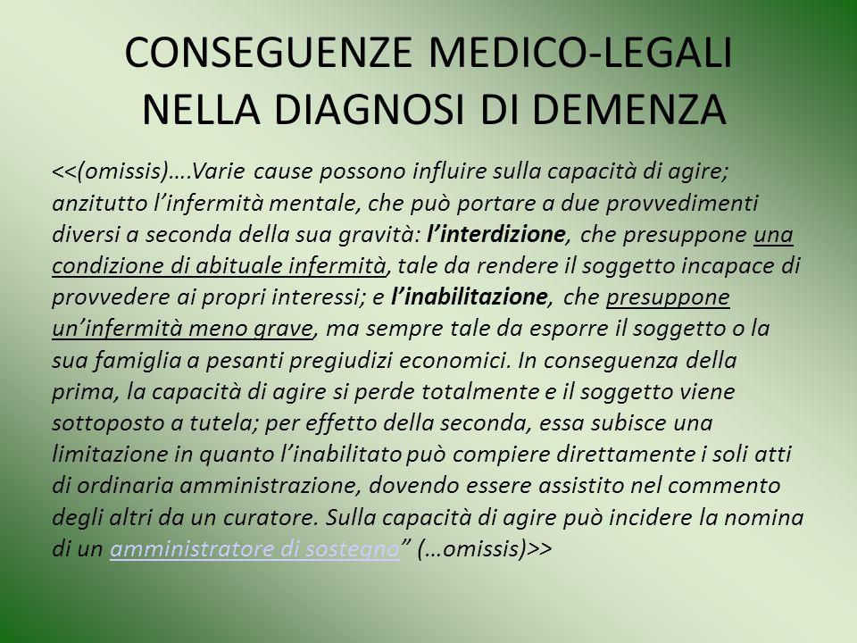 CONSEGUENZE MEDICO-LEGALI NELLA DIAGNOSI DI DEMENZA
