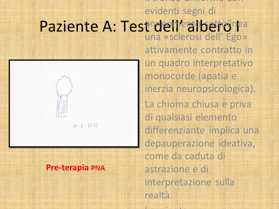 Paziente A: Test dell' albero I
