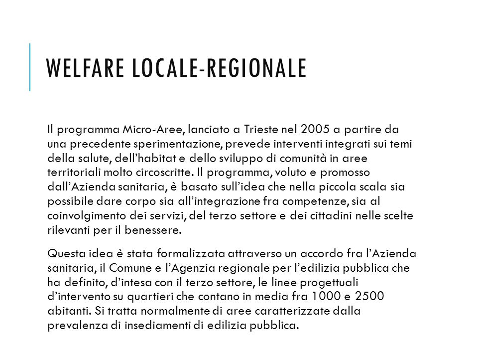 Welfare locale-regionale