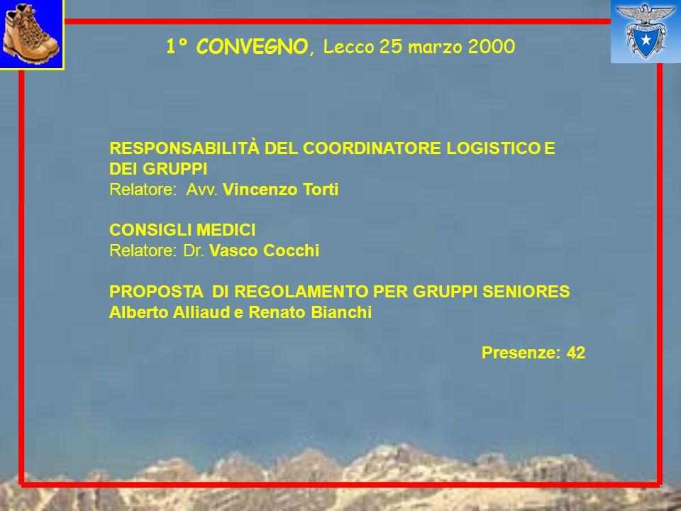 1° CONVEGNO, Lecco 25 marzo 2000 RESPONSABILITÀ DEL COORDINATORE LOGISTICO E DEI GRUPPI. Relatore: Avv. Vincenzo Torti.