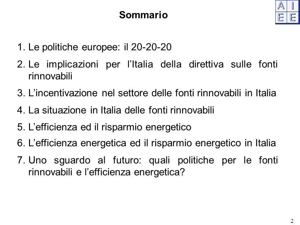 Le politiche europee: il 20-20-20