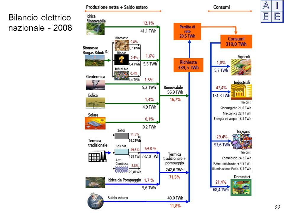 Bilancio elettrico nazionale - 2008