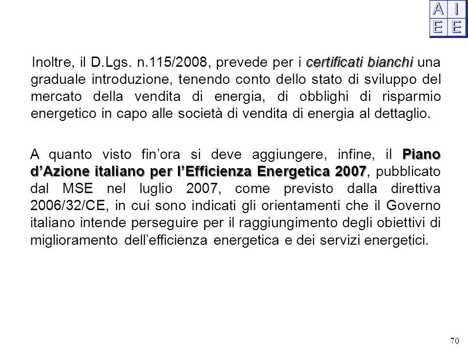 Inoltre, il D.Lgs. n.115/2008, prevede per i certificati bianchi una graduale introduzione, tenendo conto dello stato di sviluppo del mercato della vendita di energia, di obblighi di risparmio energetico in capo alle società di vendita di energia al dettaglio.