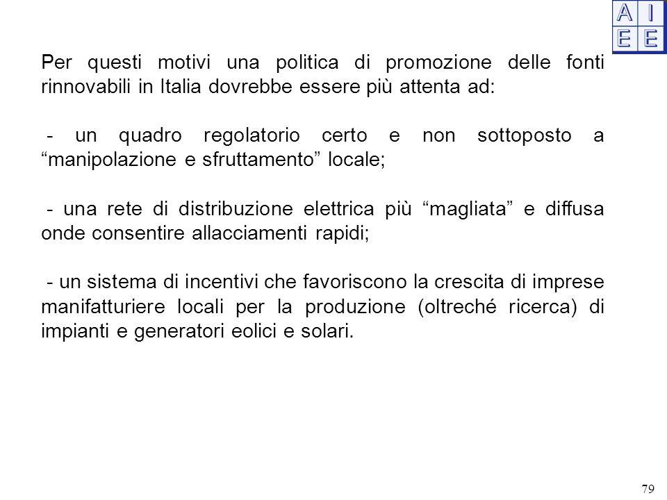 Per questi motivi una politica di promozione delle fonti rinnovabili in Italia dovrebbe essere più attenta ad: