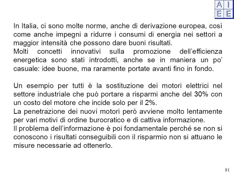 In Italia, ci sono molte norme, anche di derivazione europea, così come anche impegni a ridurre i consumi di energia nei settori a maggior intensità che possono dare buoni risultati.