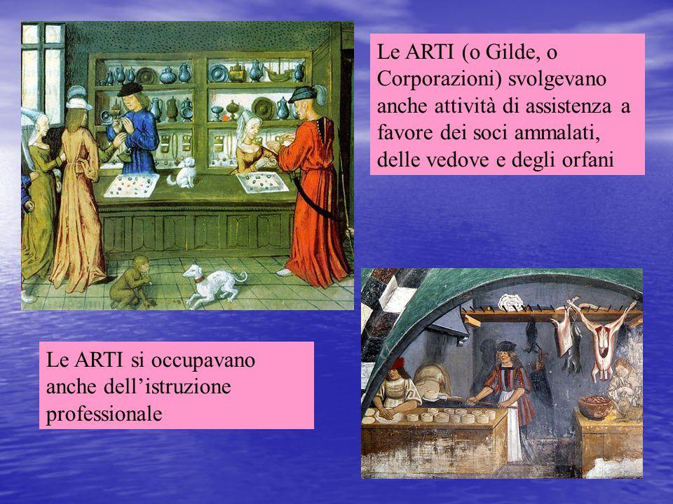 Le ARTI (o Gilde, o Corporazioni) svolgevano anche attività di assistenza a favore dei soci ammalati, delle vedove e degli orfani