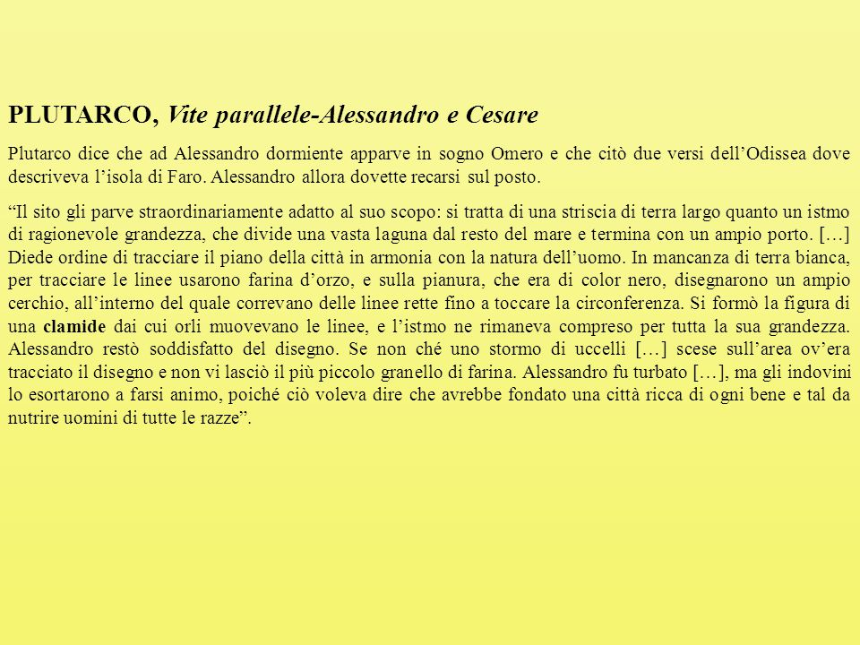 PLUTARCO, Vite parallele-Alessandro e Cesare