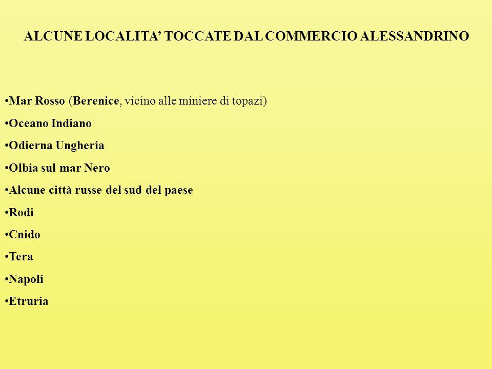 ALCUNE LOCALITA' TOCCATE DAL COMMERCIO ALESSANDRINO
