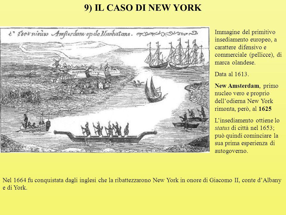 9) IL CASO DI NEW YORK Immagine del primitivo insediamento europeo, a carattere difensivo e commerciale (pellicce), di marca olandese.