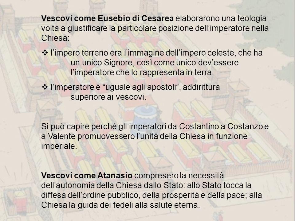 Vescovi come Eusebio di Cesarea elaborarono una teologia volta a giustificare la particolare posizione dell'imperatore nella Chiesa: