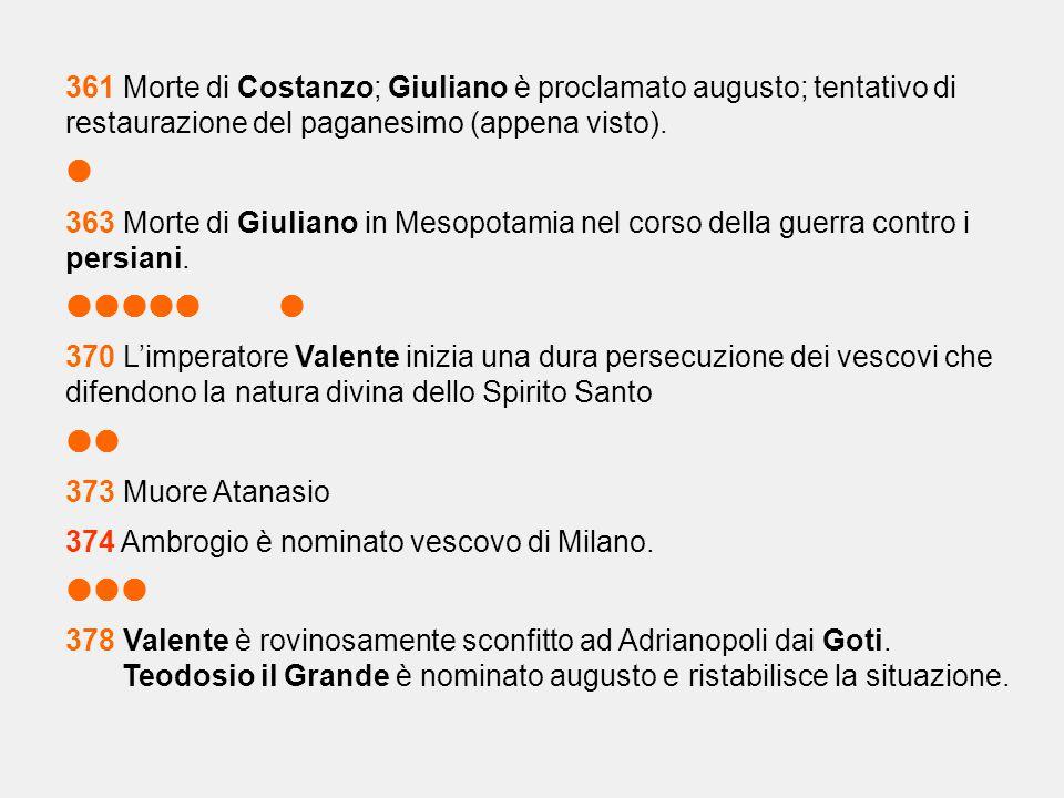 361 Morte di Costanzo; Giuliano è proclamato augusto; tentativo di restaurazione del paganesimo (appena visto).