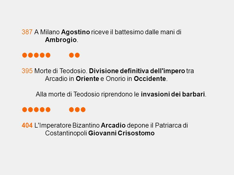 387 A Milano Agostino riceve il battesimo dalle mani di Ambrogio.