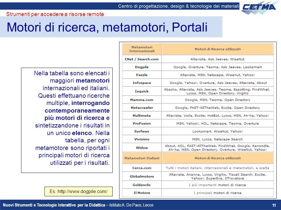 Motori di ricerca, metamotori, Portali