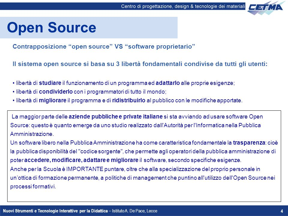 Open Source Contrapposizione open source VS software proprietario