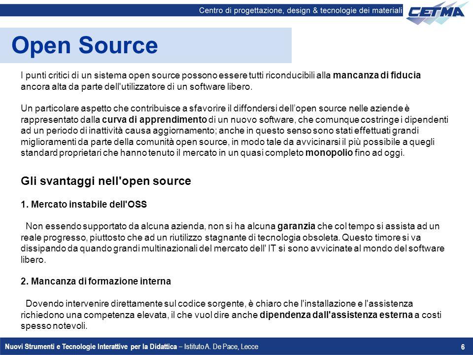 Open Source Gli svantaggi nell open source