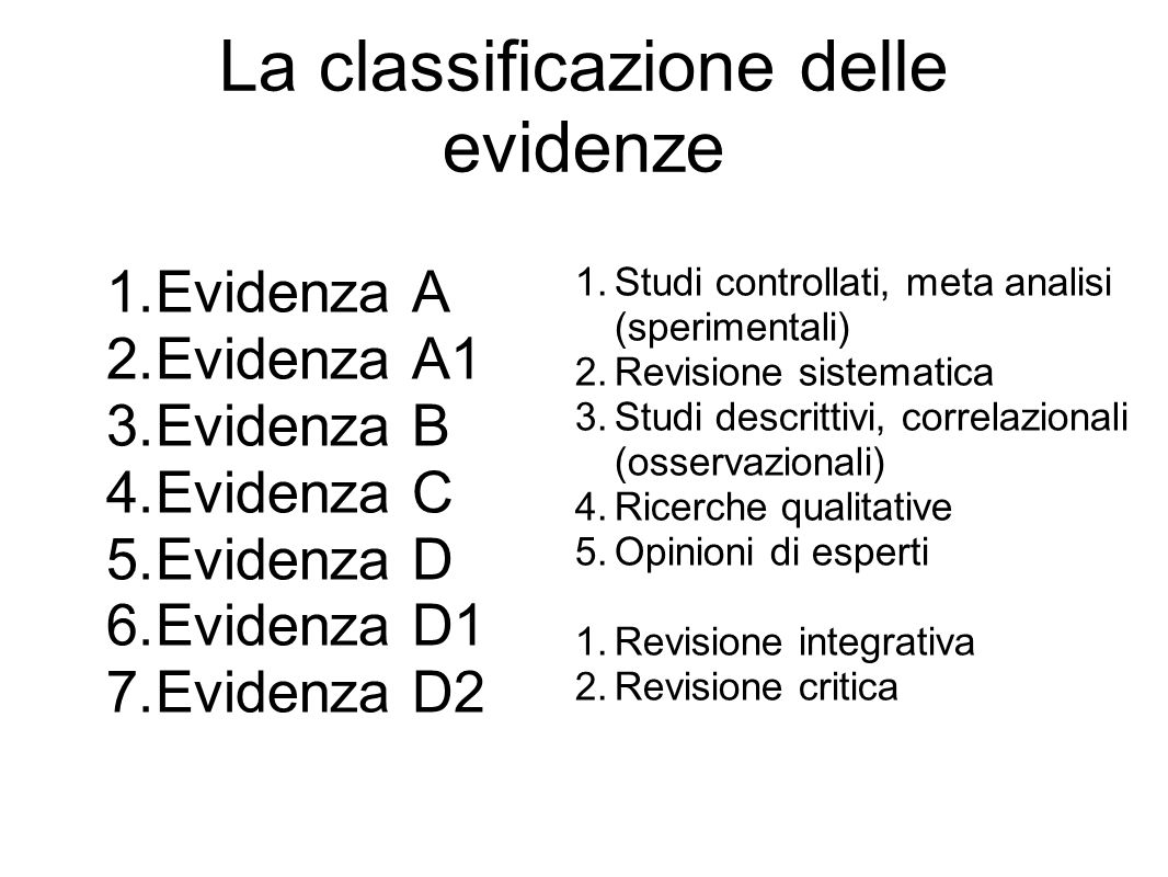 La classificazione delle evidenze