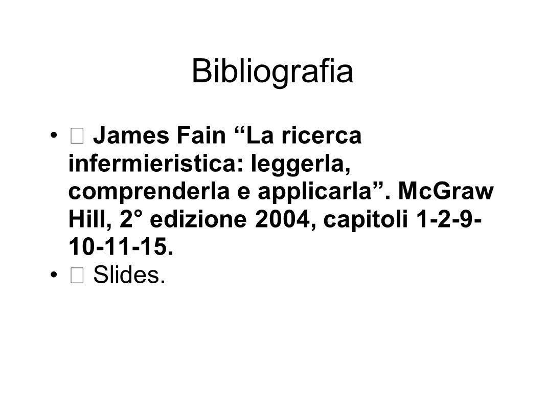 Bibliografia  James Fain La ricerca infermieristica: leggerla, comprenderla e applicarla . McGraw Hill, 2° edizione 2004, capitoli 1-2-9-10-11-15.